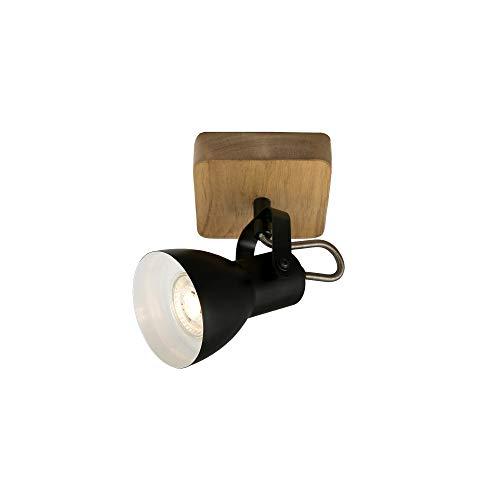 Briloner Leuchten - Spotleuchte, Wandspot, Wandleuchte retro, vintage, Spot dreh- und schwenkbar, 1x GU10, Holz-Metall, Schwarz-Weiß, 100x100x135mm (LxBxA)