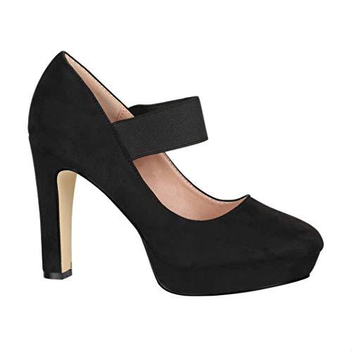 Elara Damen Pumps Riemchen High Heels Vintage Chunkyrayan E22500 Black-37