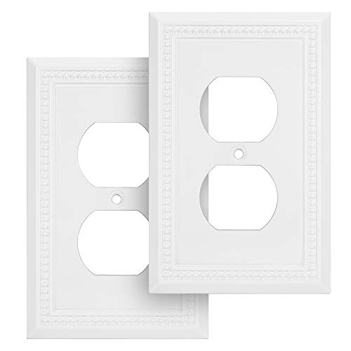 Harmon Designs Sunken Pearls Switch Plate/Wall Plate/Outlet Cover (Single Duplex 2PK, White)
