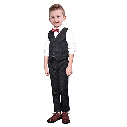 Yilaku 5-TLG Jungen Smoking Schwarz Jungen Anzug,Page Jungen Anzüge Jungen Hochzeit Passt Kleinkind Hemd Junge(Schwarz,6-7 Jahre)