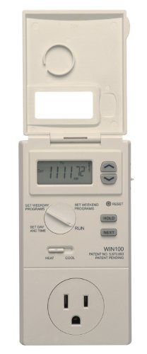 Lux WIN100 Automatic Heating & Cooling 5-2 Day Programmable Outlet Thermostat, Compatible with...