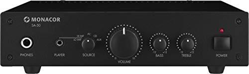 MONACOR SA-50 Kompakter Universal Stereo-Verstärker schwarz, 254620