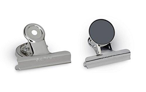 Maul 2185096 Magnet Papierklammern mit Schutzfolie, Weite 20 mm, 2 Stück, 50 x 50 mm, Silber-Metall