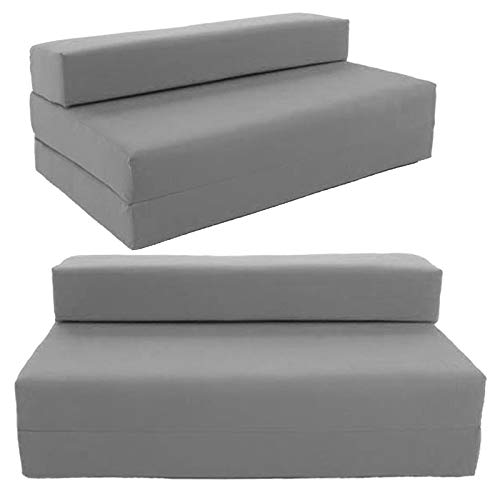 IKB 100% Cotton Twill Double Fold Out Z Bed Fold Bed Chair Folding Mattress Sofabed Chairbed Washable zipped removable cover (Grey)