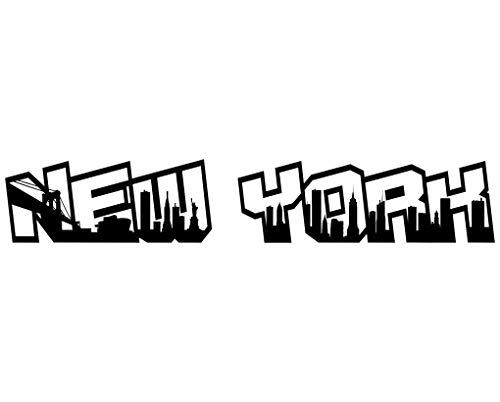 Samunshi® Wandtattoo New York City Schriftzug Skyline New York schwarz 120x20cm
