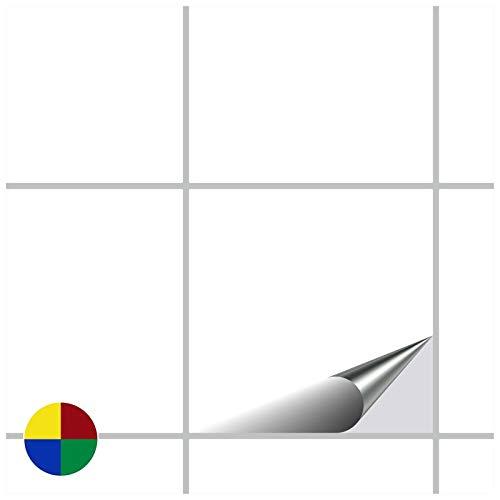 FoLIESEN Fliesenaufkleber 15x15 cm - Fliesen-Folie Bad - Klebefolie Küche - 20 Klebefliesen, Weiß Klassik glänzend
