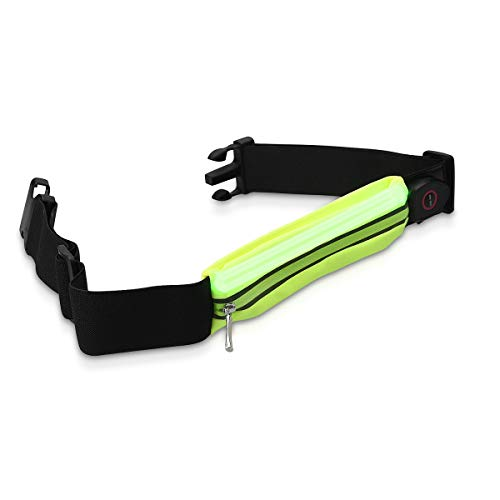 kwmobile Riñonera Deportiva con luz LED - Cinturón Deportivo con Bolsillo - Riñonera Recargable con Cable microUSB - para Ciclismo en Azul