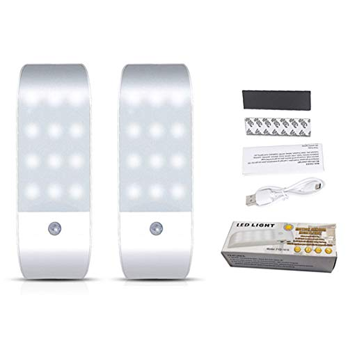 Lámpara de pared LED infrarroja de cuerpo humano de inducción de luz nocturna de 2 piezas para pasillo gabinete de cocina, caja de zapatos dormitorio