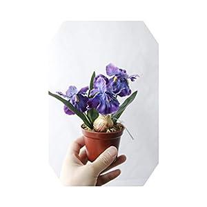 Silk Flower Arrangements MUZIBLUE Artificial Flower Heads| Minir Artificial Bonsai Iris Silk Flowers Bonsai Plants Artificial Flowe for Wedding Home Party Decorative