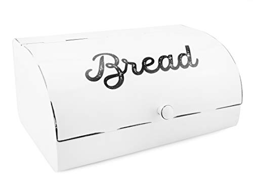 AuldHome White Bread Box; Farmhouse Vintage Enamelware Countertop Bread Bin