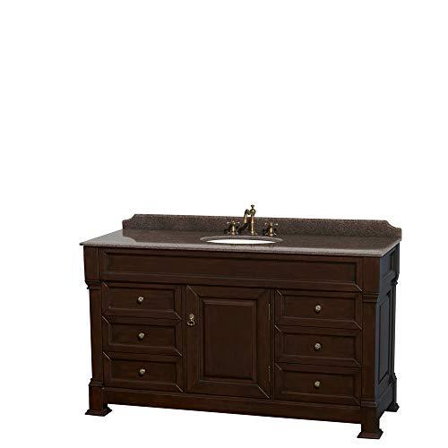 Andover 60 Inch Single Bathroom Vanity in Dark Cherry, Imperial Brown Granite Countertop, Undermount Oval Sink, No Mirror
