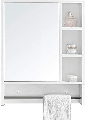 LAMTON Gabinete de Inodoro con iluminación de gabinete de patibia de Madera Espejo Espejo Espejo de cortesía con Estante de Almacenamiento (Color : Blanc, tamaño : 80 * 13.5 * 75cm)