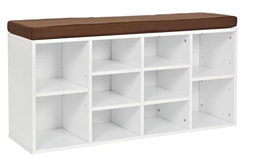 ts-ideen Flurbank Schuhschrank Kommode Bad Flur Diele Standregal Weiss Schuhregal und Sitzbank 103,5 x 54 cm