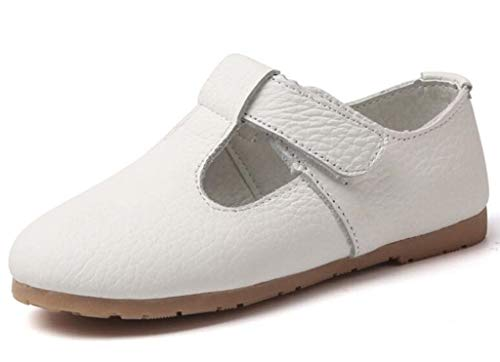 DADAWEN Gril's Leather T-Strap Oxford Flats Mary Jane School Uniform Shoes Princess Wedding Party Dress Shoes Cream White US Size 7 M Toddler