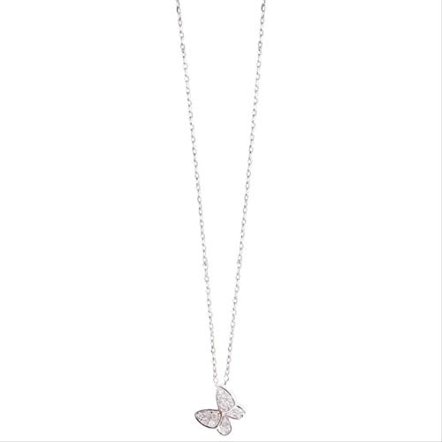 Collar Exquisito Flash Crystal Butterfly 925 Joyería Simple Temperamento Personalidad Collares pendientes 45Cm Con Cadena