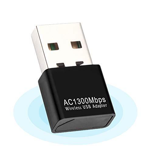 Adaptador WiFi USB,WiFi Antena USB WiFi Adaptador AC1300Mbps WiFi Dongle 5ghz Adaptador USB 2.0 Dongle Dual Band 2.4GHz 5GHz para PC de Escritorio,Compatible con Windows Mac OS 10.9-10.14