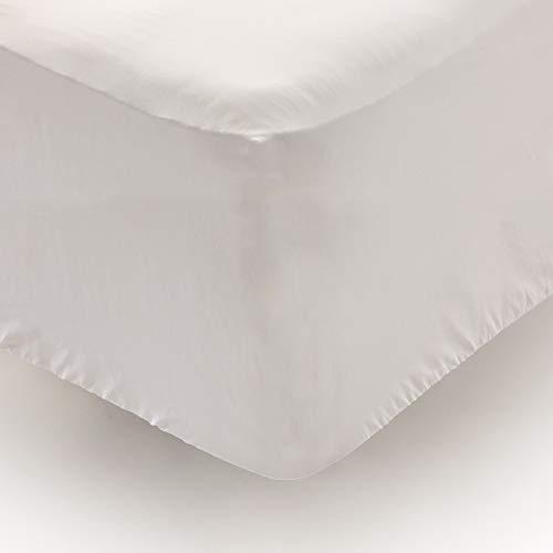 Don Descanso – Sabana Bajera Alto Especial Algodón 100% Blanca 180 Hilos para Cama 135/140 cm. hasta 34 cm. Fácil Planchado y Lavable (30º). Fresca, Transpirable y Suave (Disponible Varios Tam