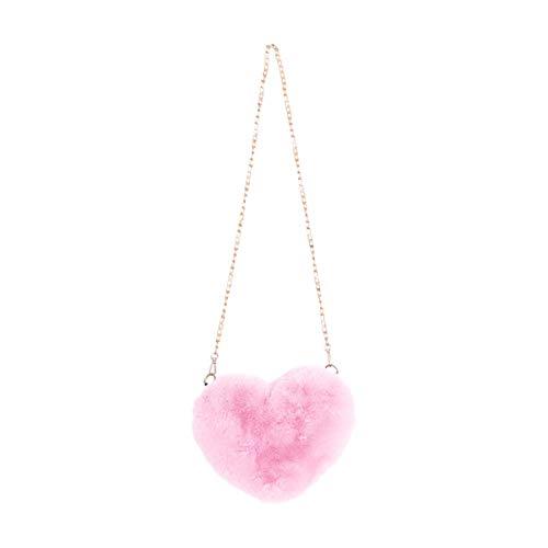 TENDYCOCO bolso de cadena cruzado esponjoso de mujer bolso de mensajero de hombro en forma de corazón de melocotón de felpa para dama-rosa