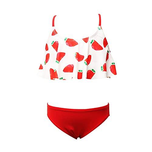 Chicas para niños Traje de natación Incluido Traje de natación para niñas niños Traje de baño Traje de baño Verano Playa Vacaciones baño baño Traje de baño de Bikini (Color : Red, Size : 116CM