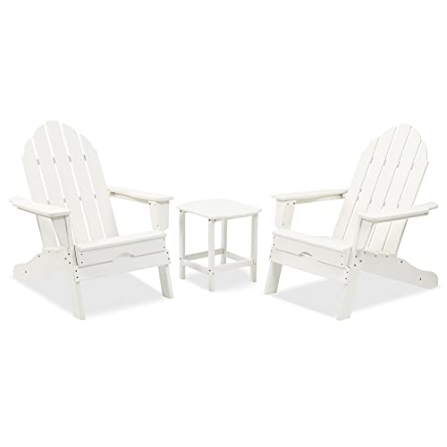 LZRS 3-Piece Adirondack Chair and Table Set, Ergonomic...