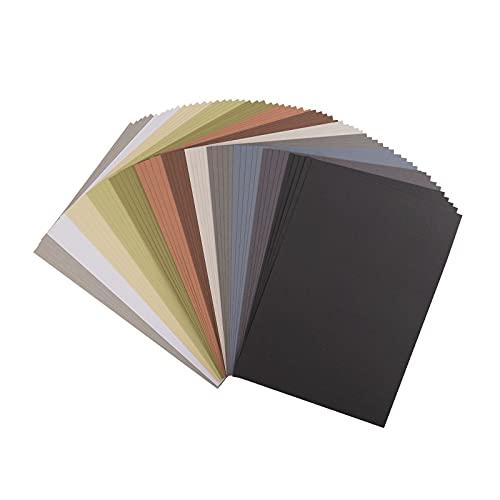 Vaessen Creative Florence Cardstock Papier, Farbenmix Erdtöne, Brauntöne, 216 Gramm/m², DIN A4, 60 Stück, Textur, für Scrapbooking, Kartenherstellung, Stanzen und andere Papierbasteleien