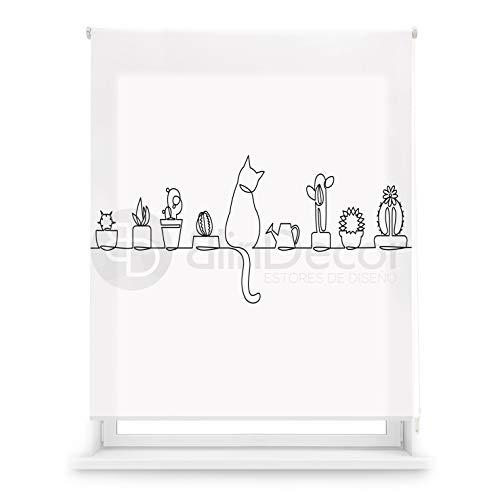 Blindecor Estor Enrollable translúcido Cocina, Cat, 130 x 180 (Ancho x Alto)