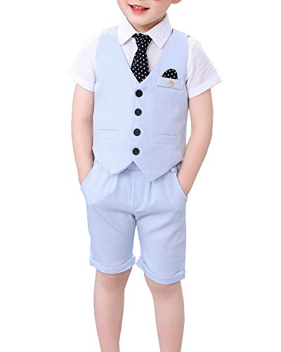 Traje para Niño Boda Ceremonia Conjunto, Chaleco + Pantalones Cortos + Corbata 3 Piezas Azul 120cm