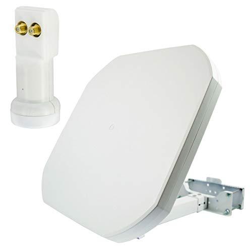 Antena plana satelital PremiumX FLAT43 con doble LNB PXV-T - sistema satelital para 2 participantes - 4K UHD FullHD
