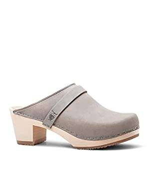 Sandgrens Swedish High Heel Wooden Clog Mules for Women US 8-8.5 | Dublin Stone EU 39