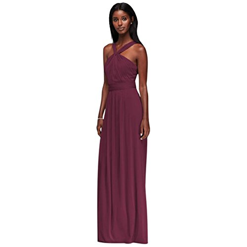David's Bridal Y-Neck Long Mesh Bridesmaid Dress Style W11173, Wine, 2