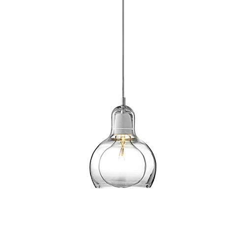 LFsem Luce Pendente Moderna Semplice Vetro Lampada da soffitto Camera da letto Sala da pranzo Lampadario per ufficio E27 Loft Lampada a sospensione (Chiaro 11cm)