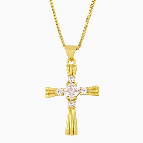 CEXTT Pflastern Kreuz Halskette für Frauen mit Stein Zirkonia Clawicle Kette Halskette Anhänger Schutz Schmuck Geschenke