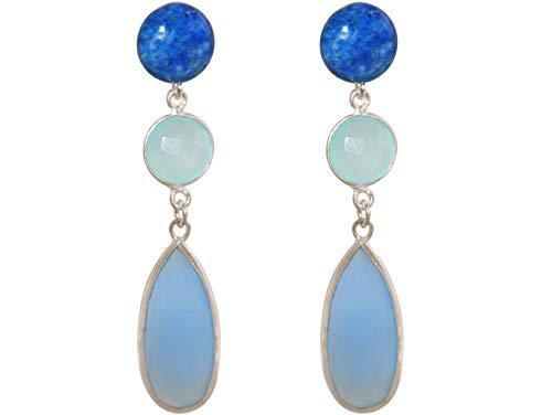 Gemshine Ohrringe mit blauen Lapis Lazuli und Chalcedonen. Ohrhänger aus 925 Silber, vergoldet oder rose. Nachhaltiger, qualitätsvoller Schmuck Made in Spain, Metall Farbe:Silber