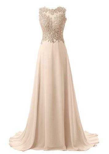 Callmelady Brautjungfernkleider Lang A-Linie Chiffon Abendkleider Elegant für Hochzeit Spitze (Champagner, EU48)