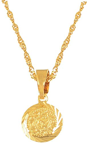Zaaqio Mini Collar con Colgante de Encanto para niñas 24k Color Oro África Arabia Joyería Regalos 45cm Cadena de Ondas