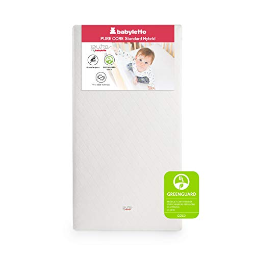 Babyletto Pure Core Non-Toxic Crib Mattress with Hybrid Waterproof Cover, Greenguard Gold Certified