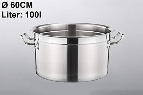 Euro Tische Gastronomie Kochtopf Suppentopf - 30 bis 100 Liter Edelstahl Kochtöpfe - ideal geeignet für ALLE Herdarten & große Küchen - Gastro Topfset (100 L)