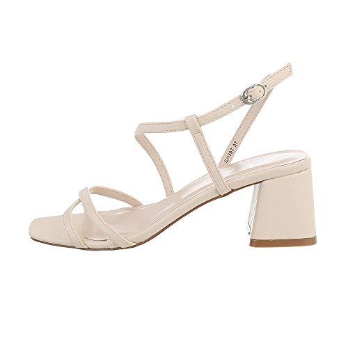Ital Design Damenschuhe Sandalen & Sandaletten High Heel Sandaletten, GH397-, Kunstleder, Beige, Gr. 39