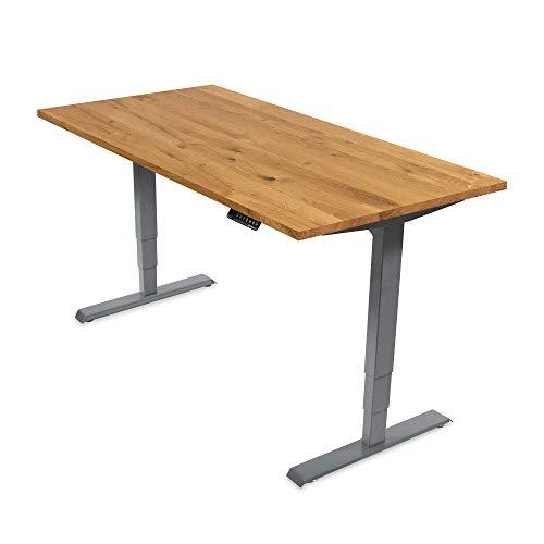 Ergotopia® Elektrisch höhenverstellbarer Schreibtisch | 5 Jahre Garantie | Ergonomischer Steh-Sitz Tisch mit Memory Funktion | Beugt Rückenschmerzen vor & Macht produktiver (180x80 G, Echtholz Eiche)