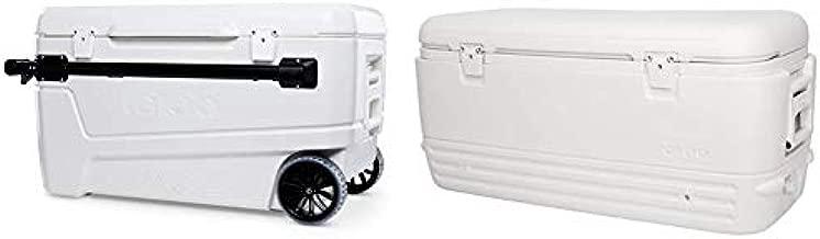 Igloo 110 Qt Glide Pro Portable Large Ice Chest Wheeled Cooler & Polar Cooler (120-Quart, White)