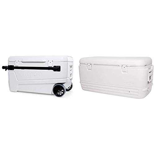Igloo 110 Qt Glide Pro Portable Large Ice Chest Wheeled Cooler & Polar Cooler (120-Quart, White)
