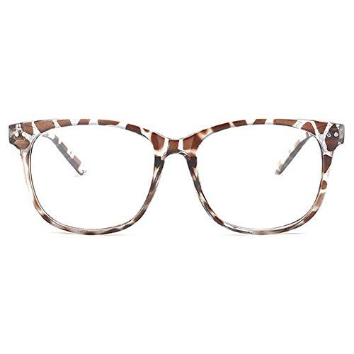KOOSUFA Klassische Retro Nerdbrille Herren Damen Federscharniere Brille Ohne Sehstärke Streberbrille Brillengestelle Groß Rund Pantobrille Vintage Brillenfassung mit Etui (Leopard)