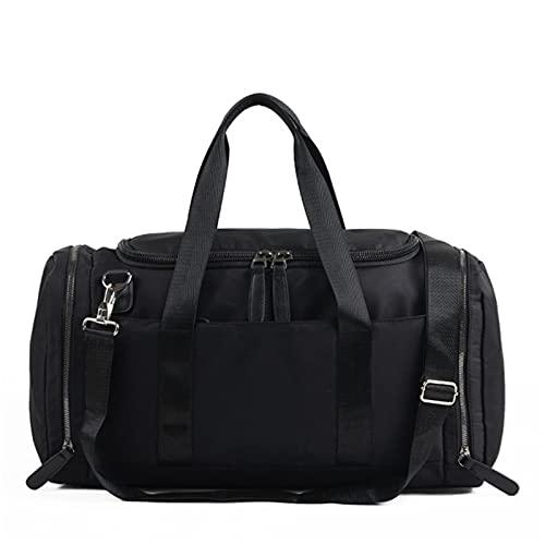 YYDM Bolsa de viagem masculina, espaço de armazenamento de grande capacidade, bolsa de viagem impermeável para fim de semana, bolsa de cabine portátil resistente e resistente ao desgaste, preta