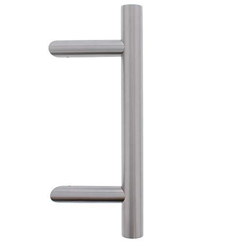 QPlus24 Türbeschlag Außen Haustürgriffe Edelstahl für Haustür Stossgriff 1 Stück Haustürbeschlag mit Befestigungsmaterial (Ausführung: Schräg L=330mm B=210mm)