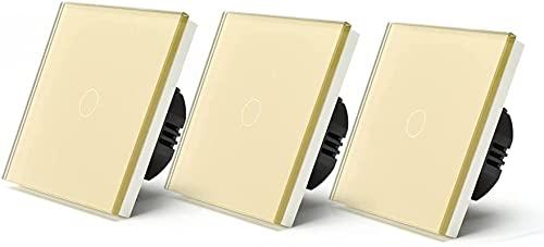KFJZGZZ Interruptor Tactil 1 Gangs Way / 3 Way Touch Switch 3packs Interruptor de luz Blanco Negro Negro Panel de la Clase de la Pared Interruptores Impermeables Interruptor Inteligente