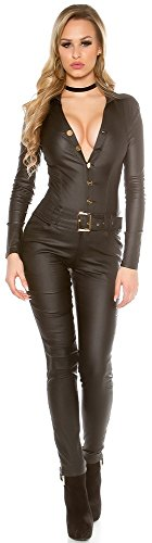 Firstclass Trendstore Lederlook Langarm-Overall Gr. XS - XL, Catsuit Jumpsuit mit Gürtel und Knöpfen Damen (XS schwarz 900701 OV19264)