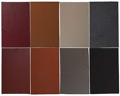 WPW Lederzuschnitt - Lederrest - Lederstück - Bastelleder 220x275mm (ca. A4), Farbe frei wählbar (8 Stück)