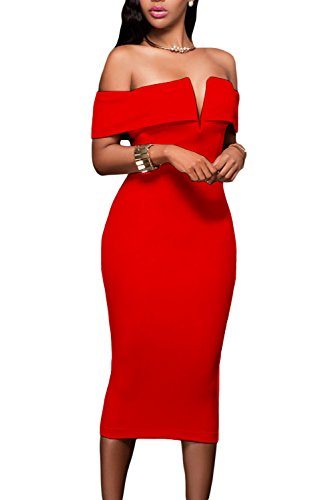 Alvaq Women's Sexy V Neck Off The Shoulder Evening Bodycon Club Midi Dress,Red,Large