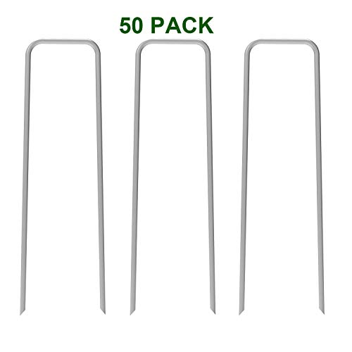 AAGUT Fence Anchors 12 Inch Garden Stakes/Spikes/Pins/Pegs 11 Gauge Galvanized Steel, Anchoring Landscaping, Weed Barrier Fabric, Ground Tent Stakes 50 Pack