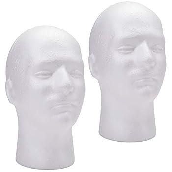 Foraineam 2 Pack Male Styrofoam Head 11 Inch Man Mannequin Manikin Foam Heads Wig Holder Hats Glasses Display Stand